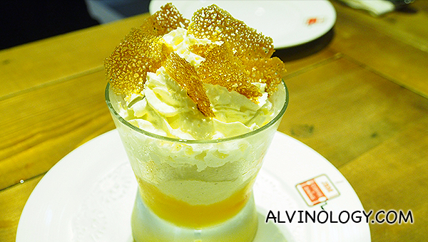 Orange Blossom - a refreshing layered dessert of fresh orange, orange jelly, Grand Marnier foam and a crowning glory of caramel crisp (S$12)