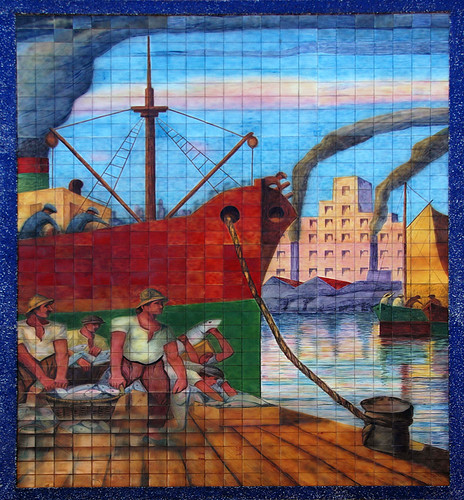 tile mural of the shipyard workers in La Boca in Buenos Aires