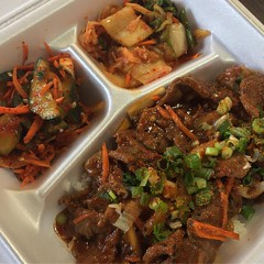 Spicy 🌶 beef bulgogi with traditional and cucumber kimchi. Worth a trip. #korean #koreanfood #bulgogi #spicy #latergram