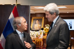 U.S. Secretary of State John Kerry listens to Thai Ambassador to the U.S. Pisan Manawapat at the Royal Thai Embassy in Washington, D.C., where the Secretary visited to offer condolences on the death of His Majesty King Bhumibol Adulyadej, on October 21, 2016. [State Department photo/ Public Domain]