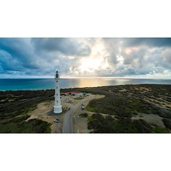 California Lighthouse Aruba built in 1910 is now a landmark for tourism. #aruba #californialighthouse #lighthouse #latrattoria #sunset #ocean #caribbean #caribbeansea #hudishibana #northwest #clouds #skyporn #dji #djiphantom3professional #onehappyisland