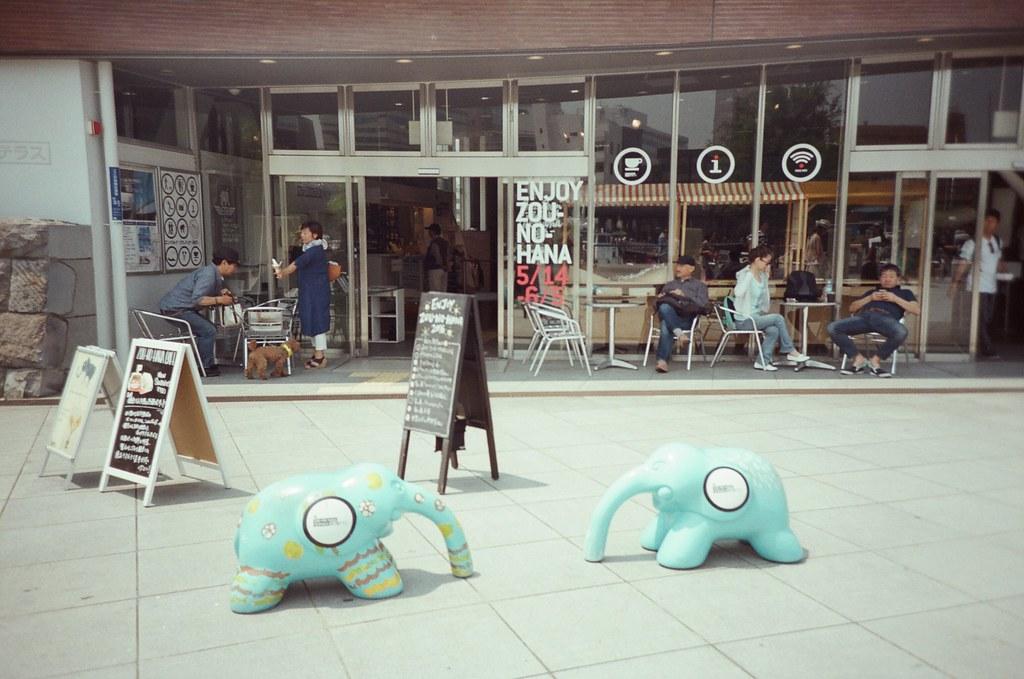 橫濱 Yokohama, Japan / Fujifilm 500D 8592 / Lomo LC-A+ 兩隻很可愛的小象在海岸咖啡店旁。  我也很想悠閒的坐下來喝杯咖啡,但我也好想把接下來的行程繼續走完。  Lomo LC-A+ Fujifilm 500D 8592 7394-0025 2016-05-21 Photo by Toomore