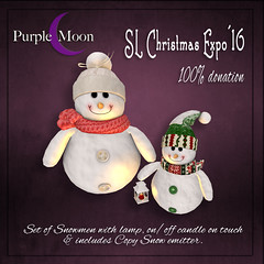 Purple Moon Snowmen Set 100% SL Xmas Expo