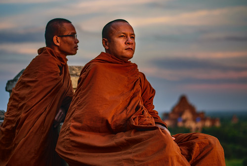 Monks contemplating the sunset, Bagan, Myanmar
