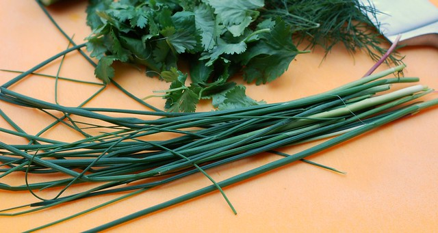 Wild garlic and herbs by Eve Fox, the Garden of Eating blog, copyright 2014