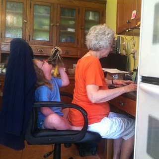 Maybelle making Nonnie share her chair