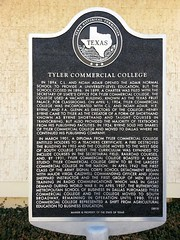 Photo of Tyler Commercial College black plaque