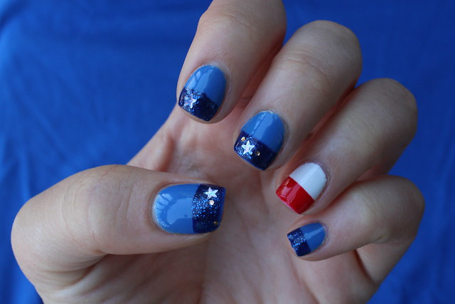Patriotic Nails on #LivingAfterMidnite #PatrioticNails #4thofJulyNails