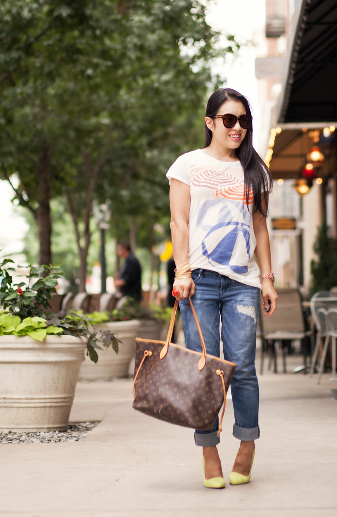 cute & little blog | petite fashion | jcrew graphic tee, distressed jeans, lv neverfull, yellow pumps | casual summer outfit