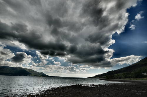 water clouds lough looking harbour quay co to louth carlingford on greers