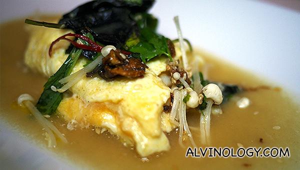 'Glass' Sydney crab omelette, enoki mushroom & herb salad, miso mustard broth - $33++