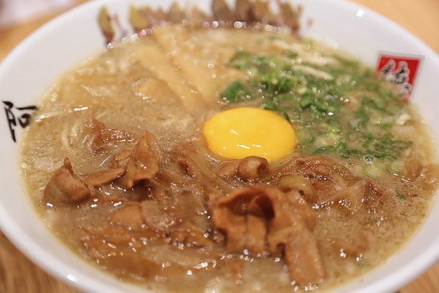 Tonkotsu Ramen AWAODORI: sweet pork sukiyaki and raw egg