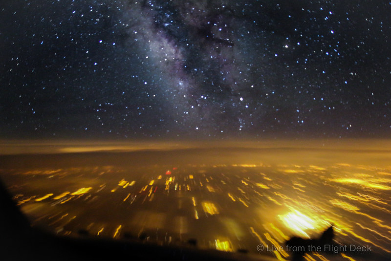 The night sky at Flight Level 370, pilot's view