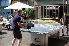 Free ping pong in our courtyard