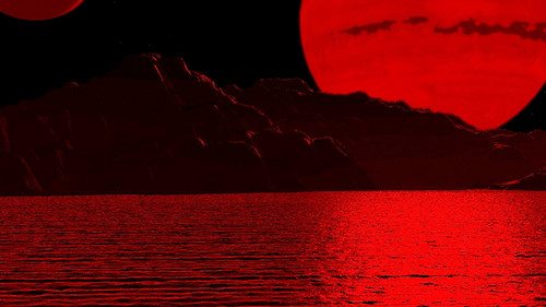 Vista desde un hipotético planeta habitable orbitando una enana roja