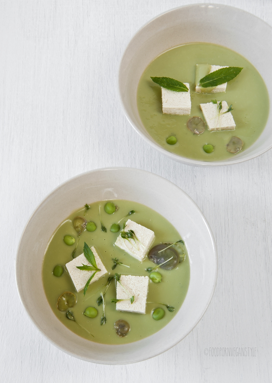Japanese soup. Cream of fava beans and peas. Vegan
