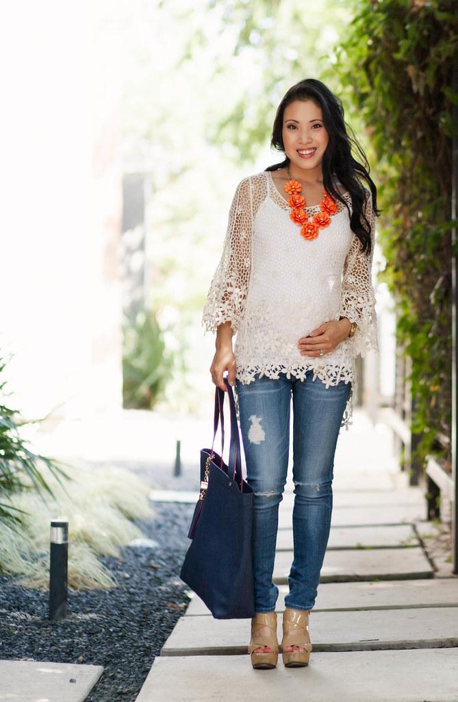 Crochet Top   Distressed Maternity Jeans // 16 Week Bump - cute ...