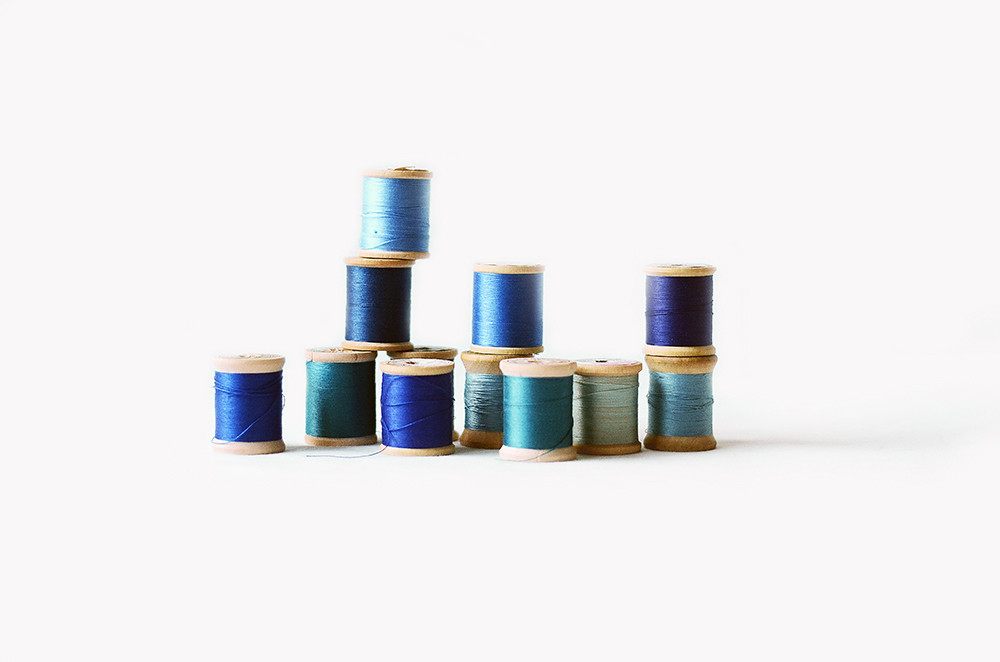 Vintage Wooden Spools with Shades of Blue Thread, Winter and Ice Collection