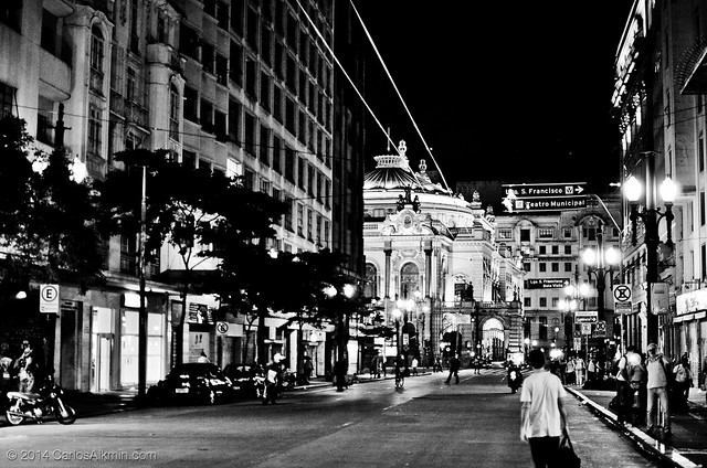 Sao Paulo by night - Xavier de Toledo street towards Municipal Theatre