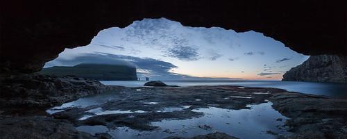 sunset panorama grotto faroeislands eiði eysturoy krúpi