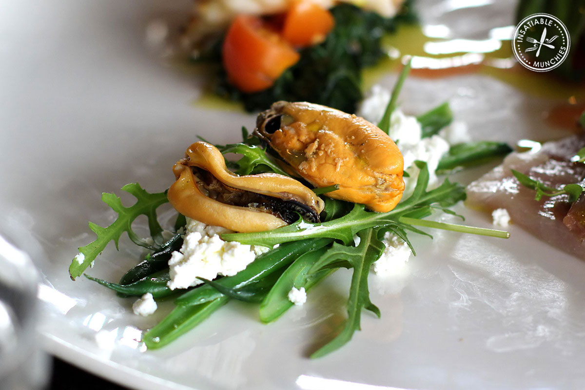 Plump juicy mussels are served with fresh rocket and salty feta.