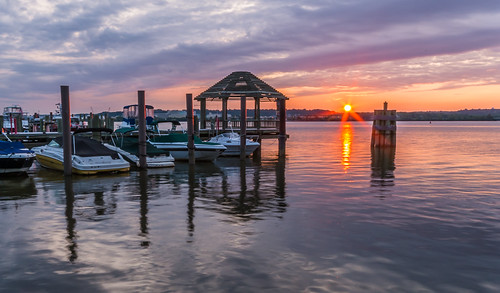 Potomac Marina Sunrise in Red and Purple by Geoff Livingston