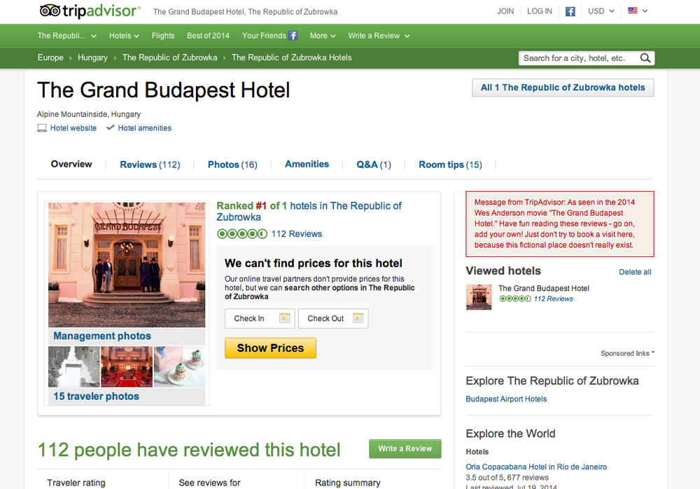 The Grand Budapest Hotel -  TripAdvisor