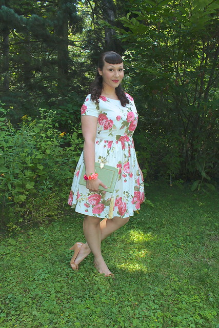 modcloth rose print dress