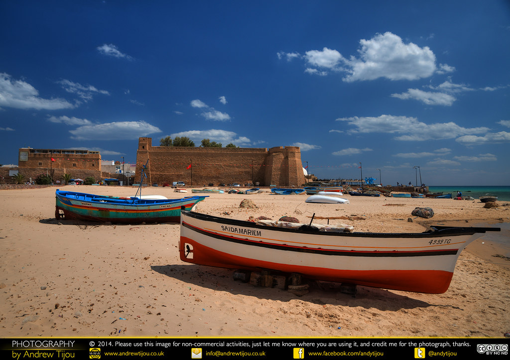 Fishing Boats on the Beach and Hammamet Fort