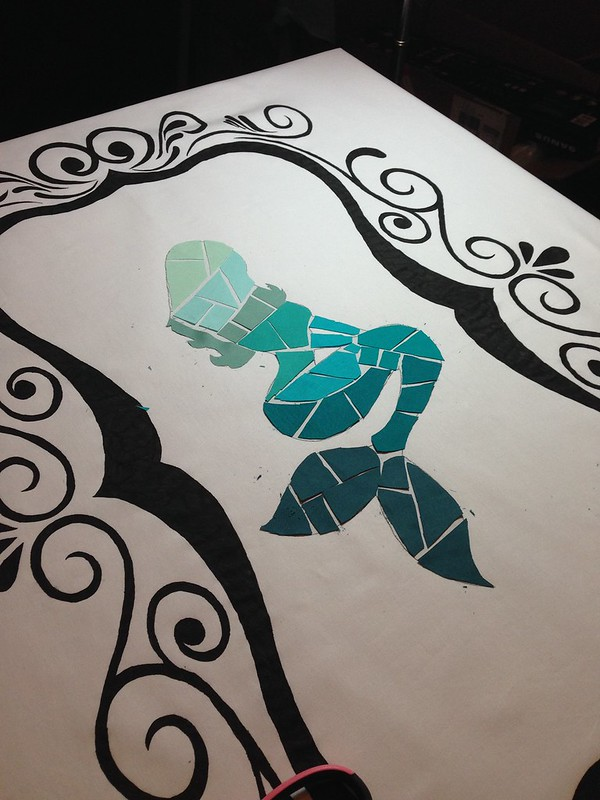 Sea glass mermaid quilt progress pix