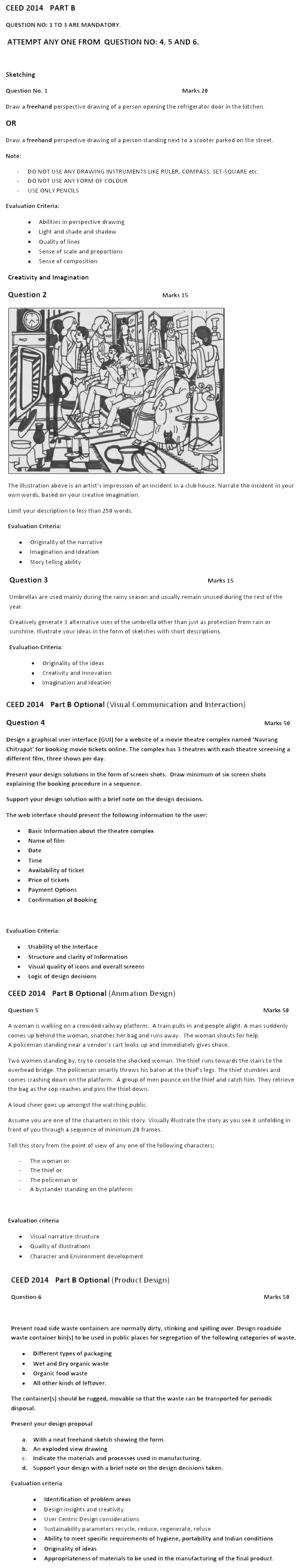CEED 2014 Question Paper