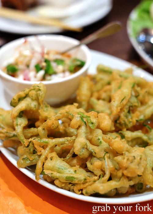 Yum Ma Muang crispy morning glory salad at Tawandang Thai-German restaurant, Sydney