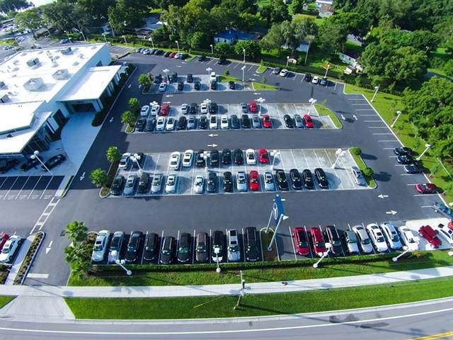 a bird s eye view of fields motorcars in lakeland florida