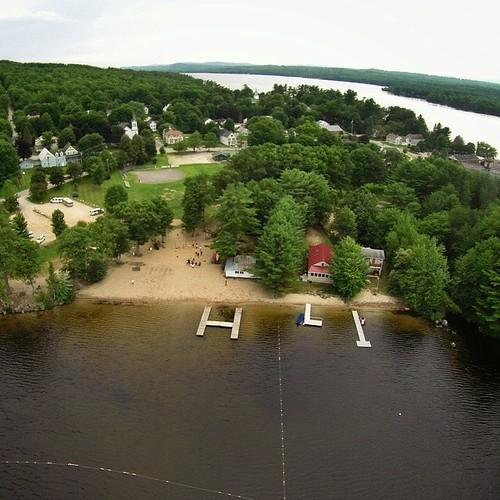 H L I docks at Crystal Lake Park in Harrison, Maine #gopro #djiphantom2 #aerialphotography #malimishfromtheair