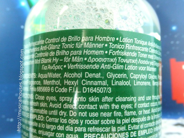 Kiehls Oil Eliminator Refreshing Shine Control Toner For Men Ingredients