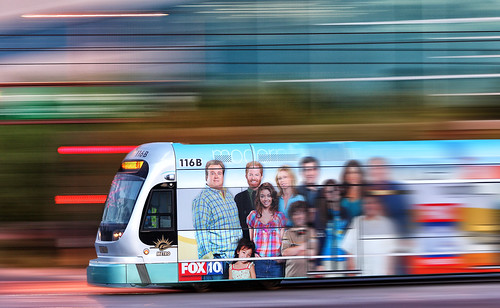 """Fast Train"" Fox 10 Modern Family Add Phoenix Light Rail triple exposure"