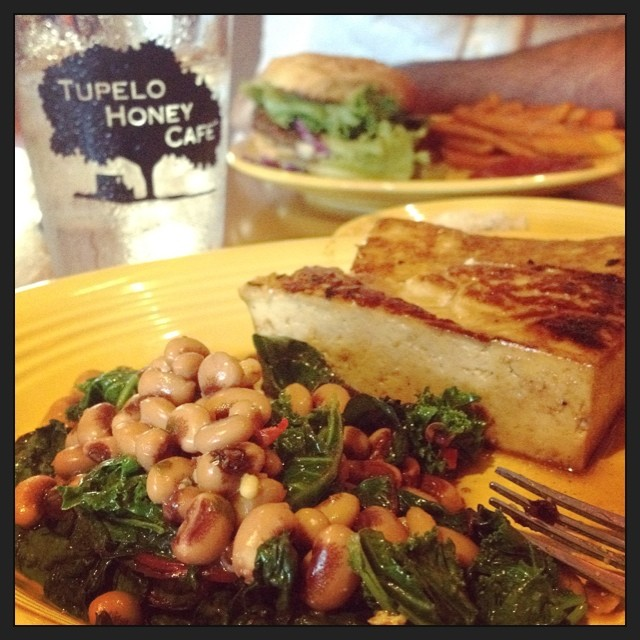 A great Southern, #vegan meal. Black eyed peas, greens, and marinated, baked tofu. #whatveganseat #yum