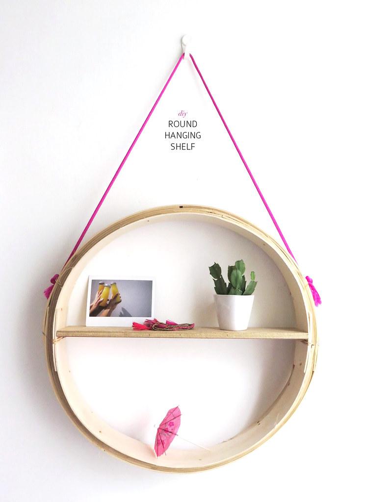 diy round hanging shelf a pair a spare. Black Bedroom Furniture Sets. Home Design Ideas