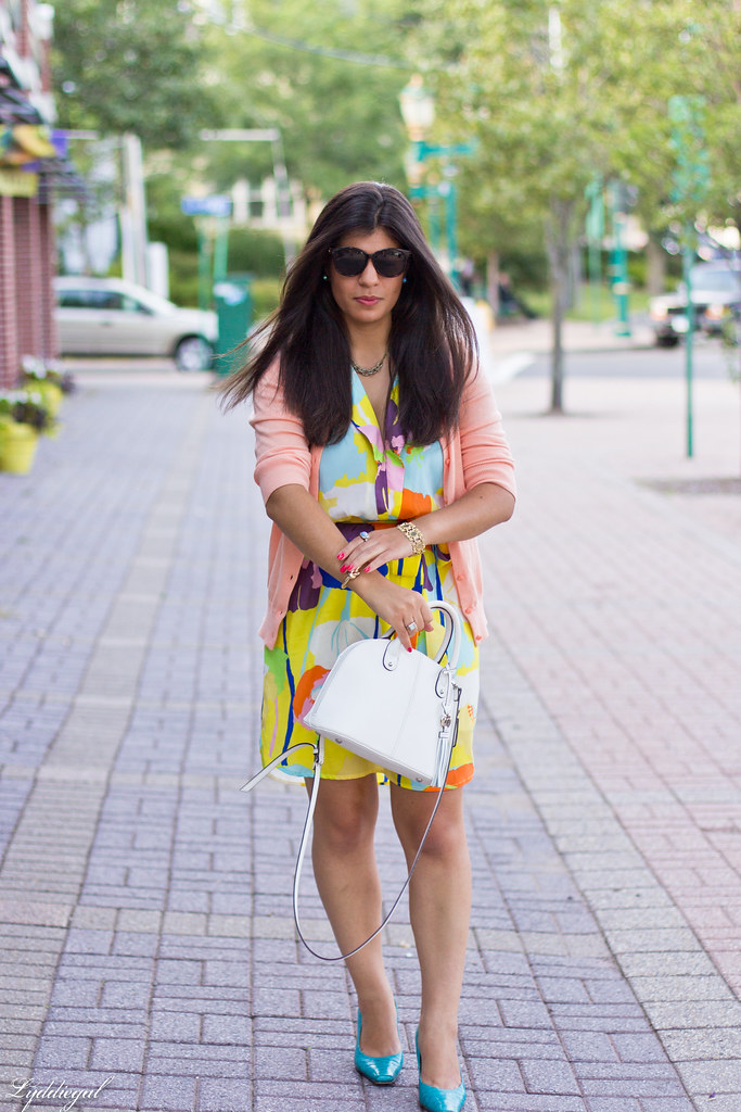bright floral print dress, turquoise pumps.jpg
