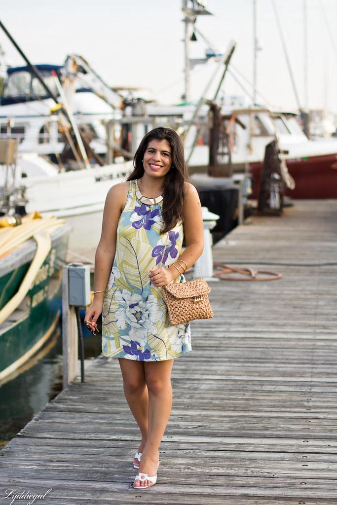 Tropical print dress, straw clutch, white sandals-8.jpg