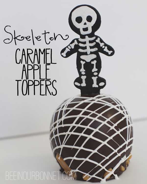 skeleton caramel apples