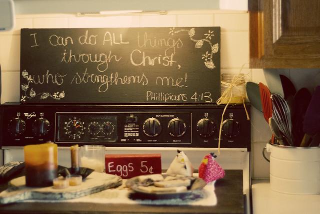 Chalkboard above stove