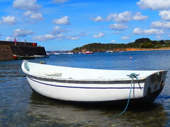 Sea, boat and clouds: Portzmeur, Brittany, France