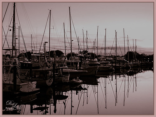 Image of boats in Camachee Cove, St. Augustine, Florida, at sunset