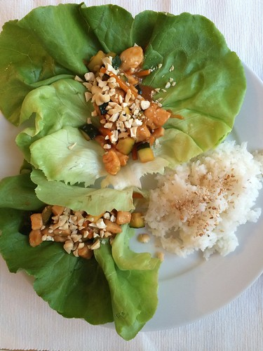 A celiac's kitchen_ new recipe spicy chicken lettuce wraps and coconut rice