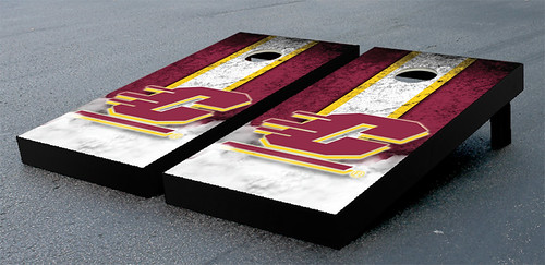 Central Michigan Chippewas Cornhole Game Set Vintage Wooden