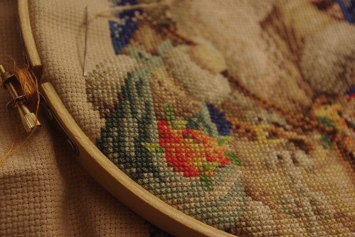 Cross Stitch Stocking in Progress