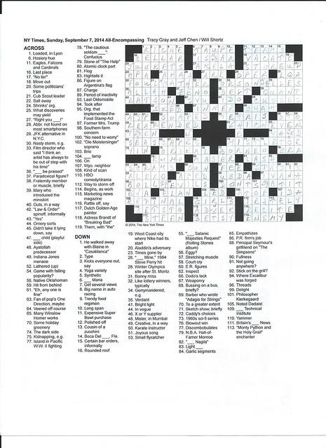 NYT Sunday Puzzle - September 7, 2014