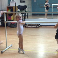 #barre work on her first day!   My #toes hurt looking at that. #dance #class