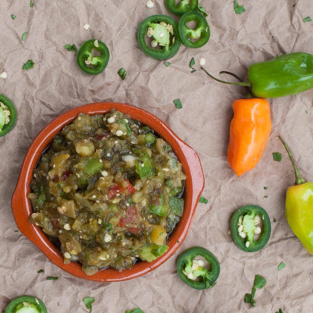 Overhead green chile salsa